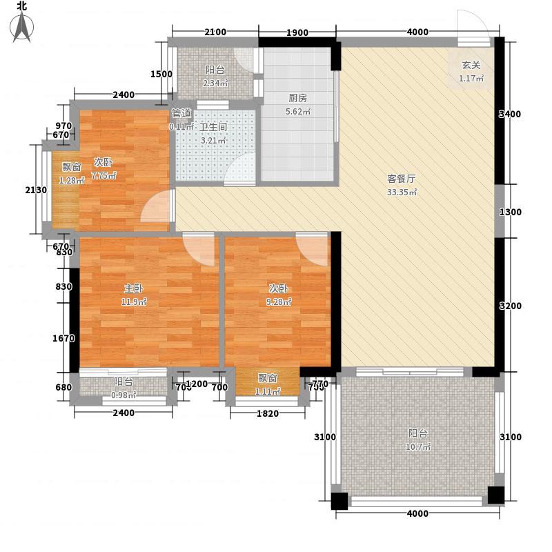 珠江棕榈园1.50㎡四期C户型3室2厅1卫1厨