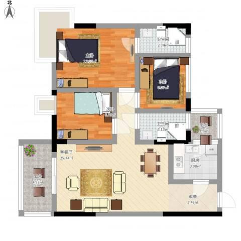 日高卡卡3室1厅2卫1厨99.00㎡户型图