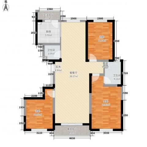 领秀天成3室1厅2卫1厨138.00㎡户型图
