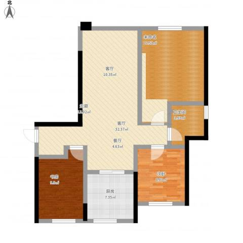 钻石湾2室1厅1卫1厨114.00㎡户型图