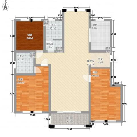 日月兴城3室2厅2卫1厨143.00㎡户型图