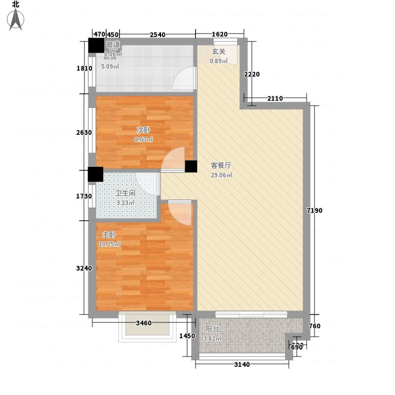 光谷新干线86.35㎡C户型2室2厅1卫1厨