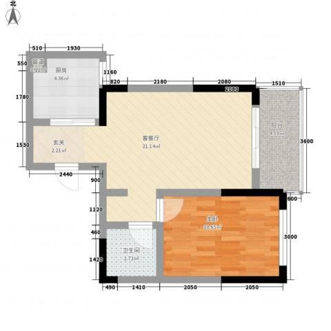 瑞金福邸1室1厅1卫1厨58.00㎡户型图