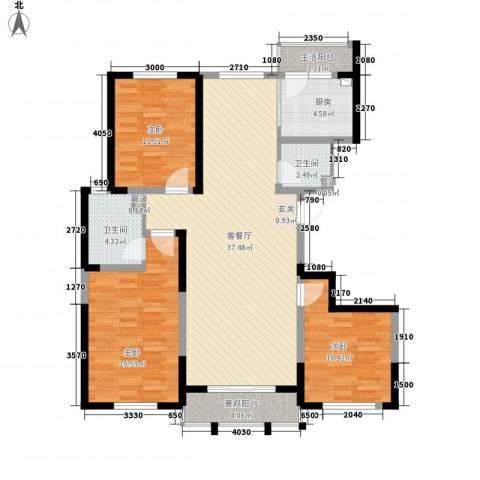 领秀天成3室1厅2卫1厨132.00㎡户型图