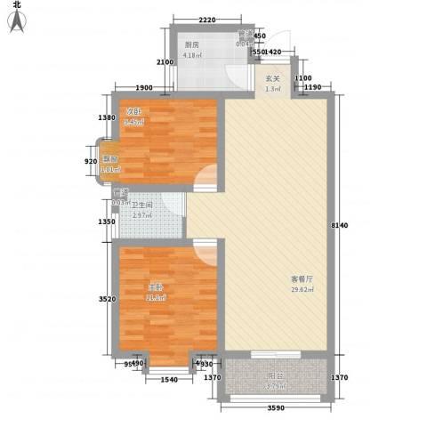 东城100(微笑城堡)2室1厅1卫1厨88.00㎡户型图