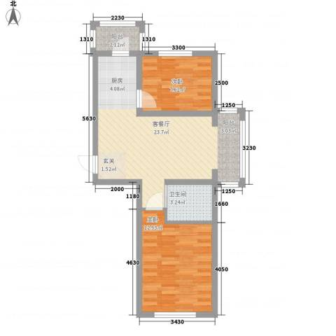 隆达丽景世纪城2室1厅1卫0厨68.00㎡户型图