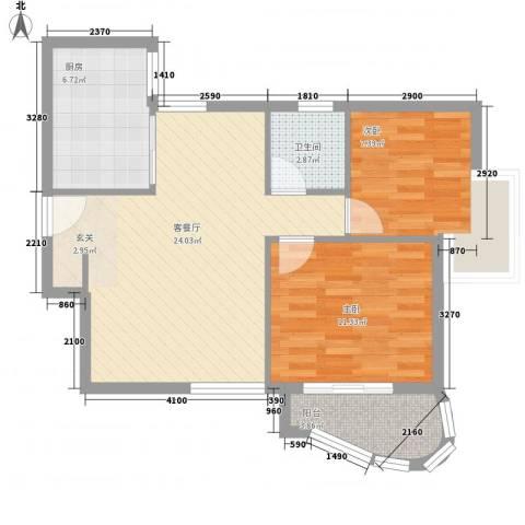 东城100(微笑城堡)2室1厅1卫1厨56.20㎡户型图