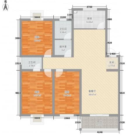 旺旺家缘3室2厅2卫1厨144.00㎡户型图