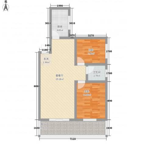 东城100(微笑城堡)2室1厅1卫1厨76.00㎡户型图