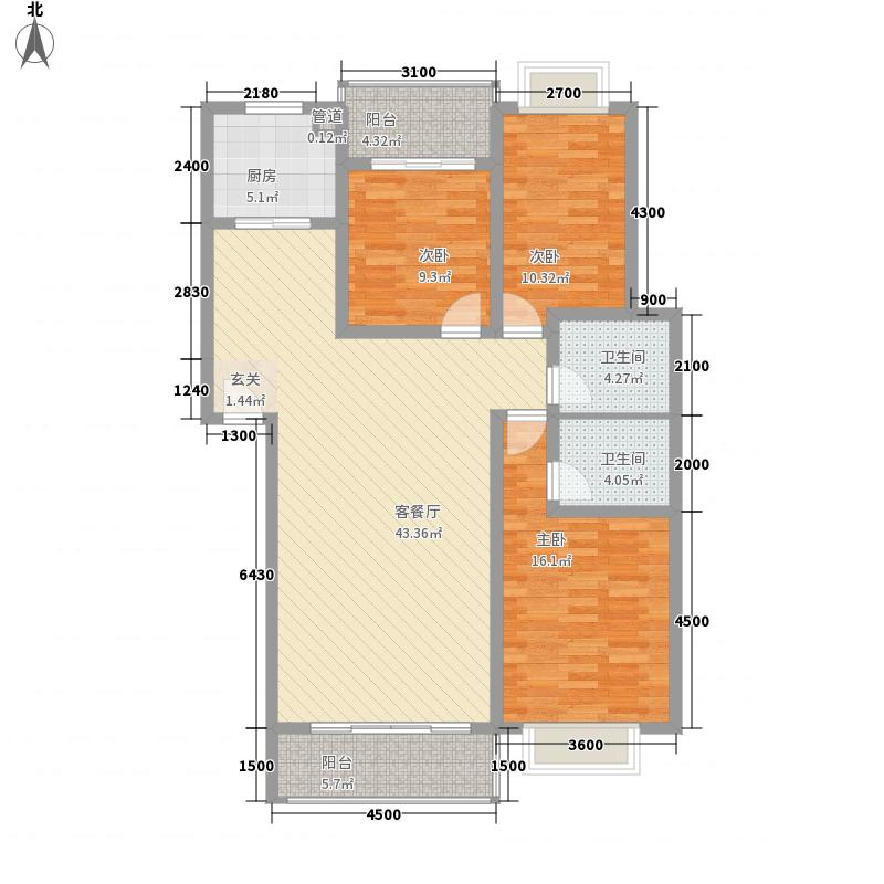 南城一品132.21㎡6栋B户型3室2厅2卫1厨