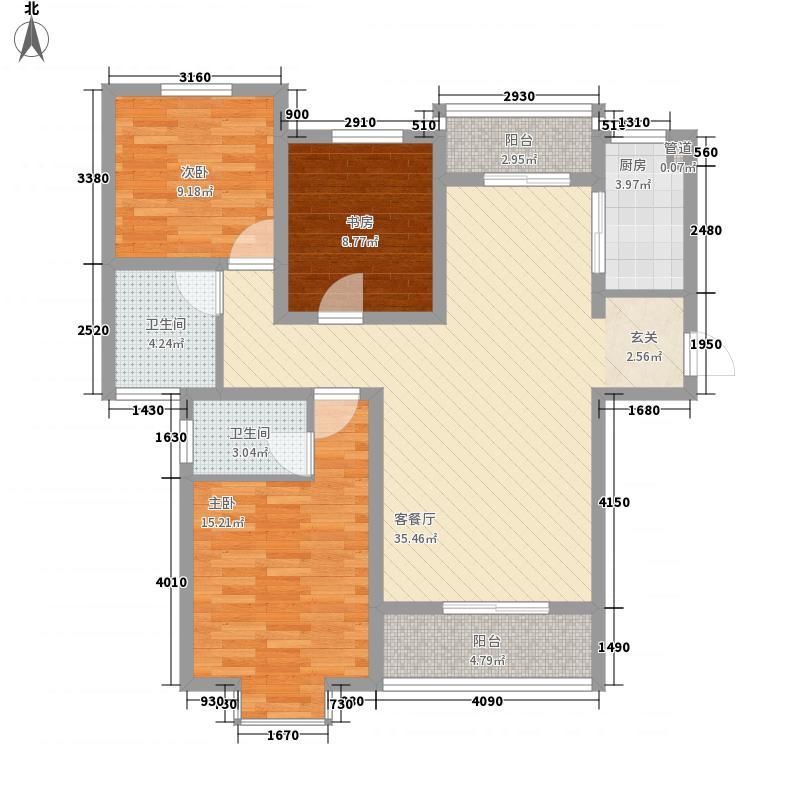 中房・银堤漫步127.00㎡C2户型3室2厅2卫1厨