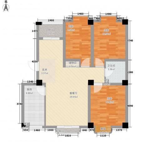 东城100(微笑城堡)3室1厅1卫1厨111.00㎡户型图