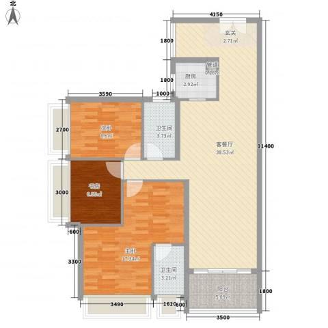 幸福里3室1厅2卫1厨115.00㎡户型图