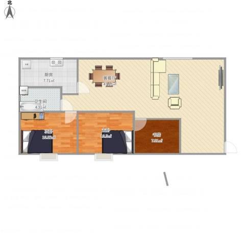 京都小区3室1厅1卫1厨116.00㎡户型图