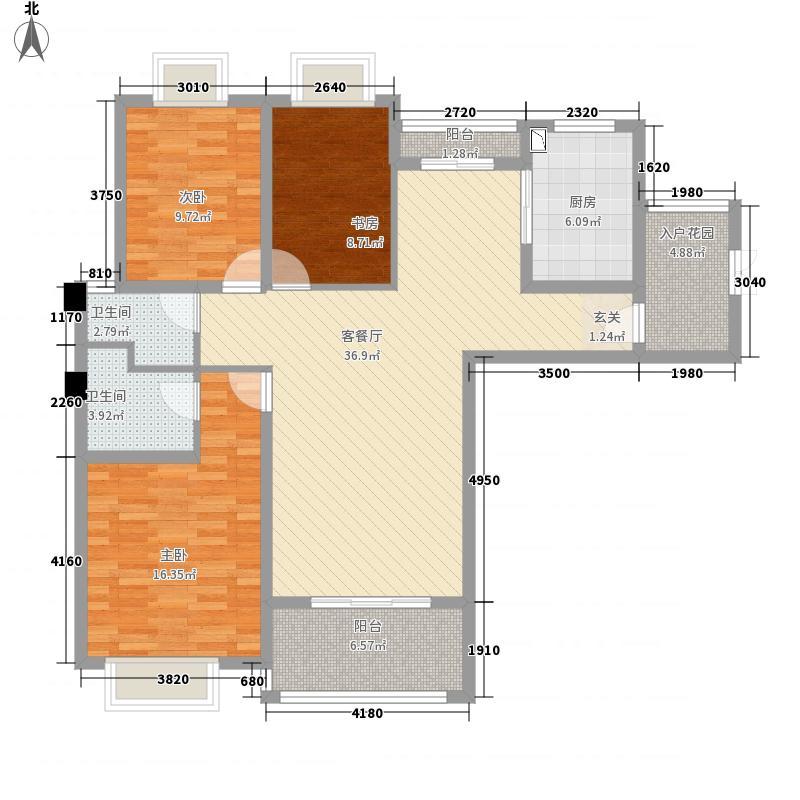 龙庭一品135.00㎡A1户型3室2厅2卫1厨