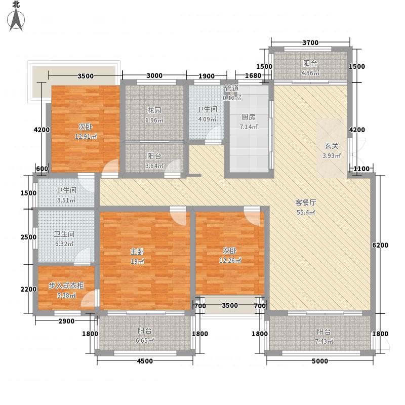 凯�清华园1.50㎡F1户型4室2厅3卫1厨