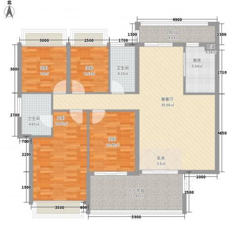 幸福里4室1厅2卫1厨155.00㎡户型图