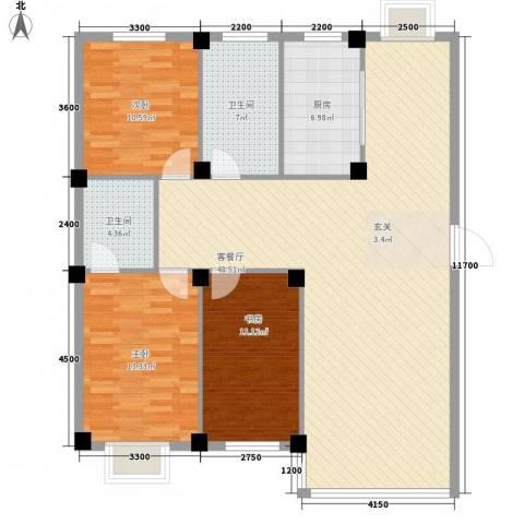 锦城・四月天3室1厅2卫1厨128.00㎡户型图