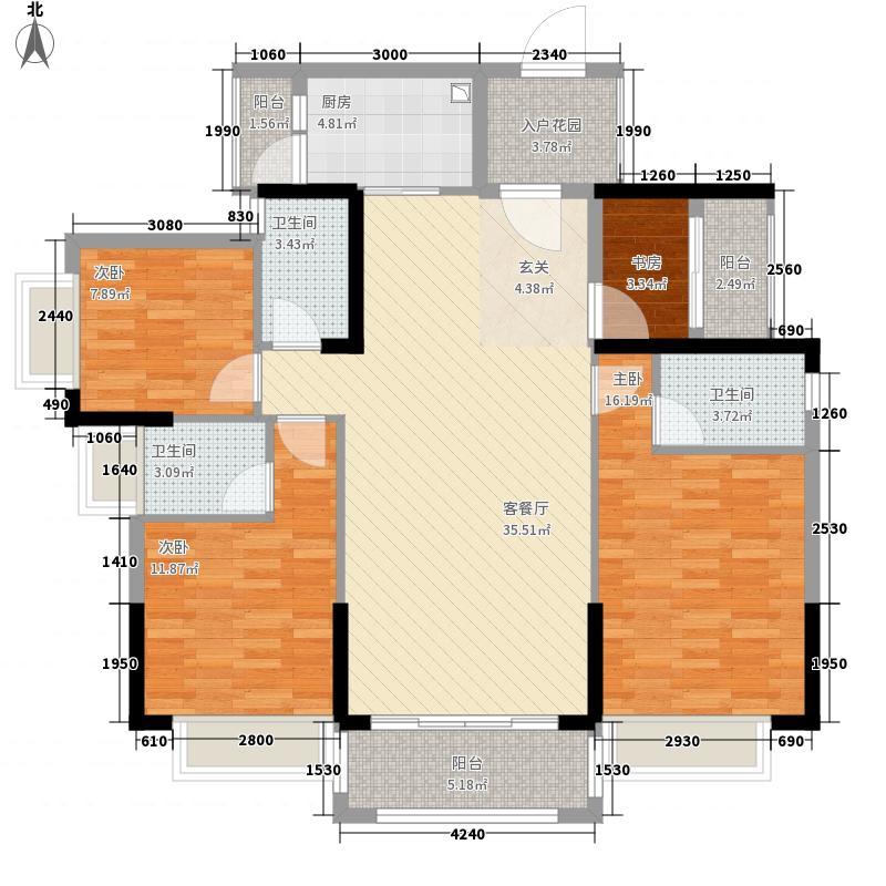 紫悦明都147.00㎡6栋05单元户型4室2厅3卫1厨