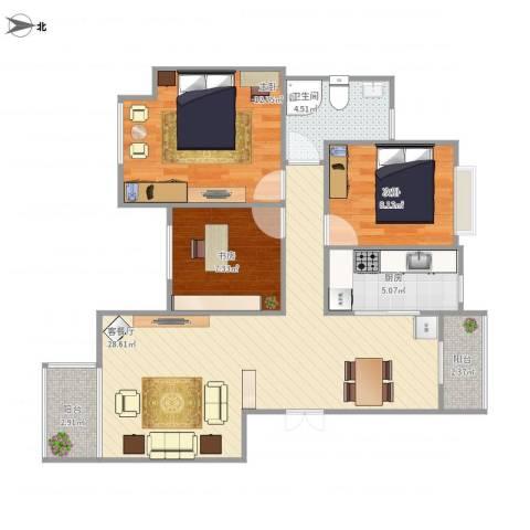天津奥林匹克玉兰苑3室1厅1卫1厨97.00㎡户型图