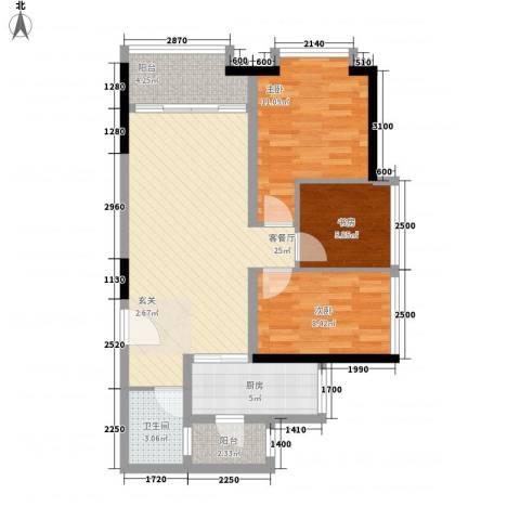 鸿翠阁3室1厅1卫1厨75.37㎡户型图