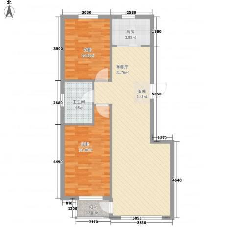 金御蓝湾2室1厅1卫1厨92.00㎡户型图