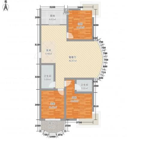 振兴花园3室1厅2卫1厨139.00㎡户型图