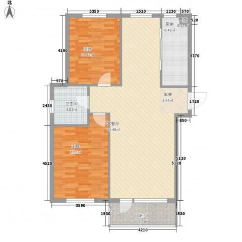 金御蓝湾2室1厅1卫1厨118.00㎡户型图