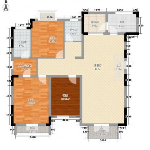 红星海青屿蓝3室1厅2卫1厨158.00㎡户型图