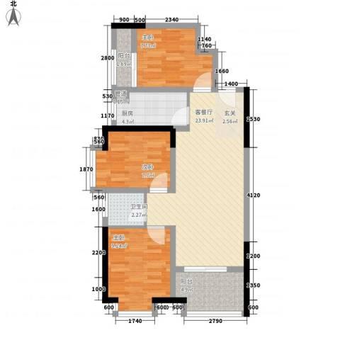 鸿翠阁3室1厅1卫1厨74.00㎡户型图