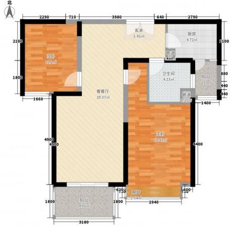 天都首郡2室1厅1卫1厨88.00㎡户型图