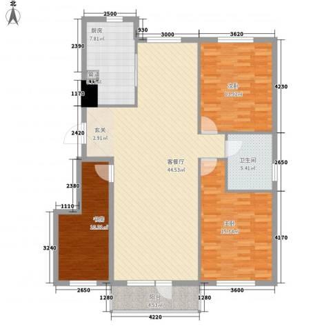 金御蓝湾3室1厅1卫1厨142.00㎡户型图