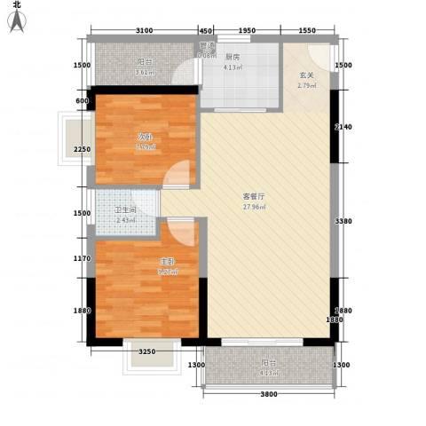 海志公园道一号2室1厅1卫1厨75.00㎡户型图