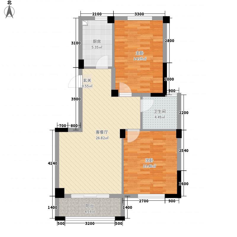 河畔花城14-2-101户型2室2厅1卫