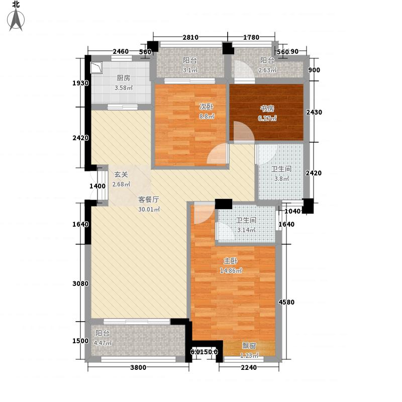 鑫和地王广场116.20㎡户形图I户型3室2厅2卫1厨