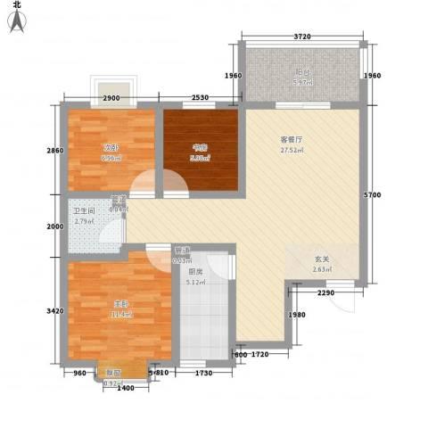 东城100(微笑城堡)3室1厅1卫1厨65.80㎡户型图