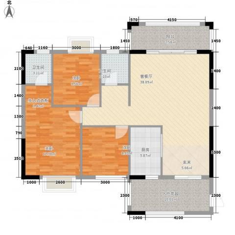 紫宸澜山3室1厅2卫1厨127.00㎡户型图