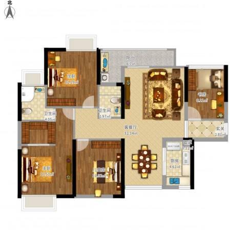 锦龙又一城二期君誉4室1厅2卫1厨145.00㎡户型图