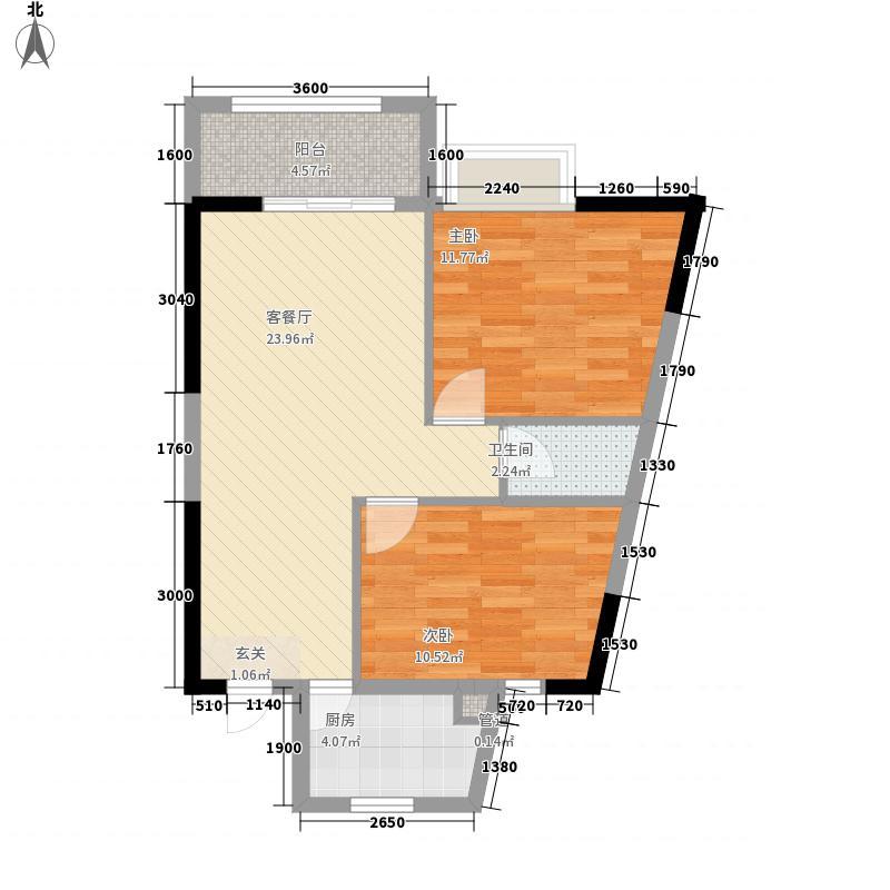 清新商务大厦76.57㎡09单位户型2室2厅1卫1厨