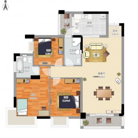 石湖苑3室1厅2卫1厨130.00㎡户型图