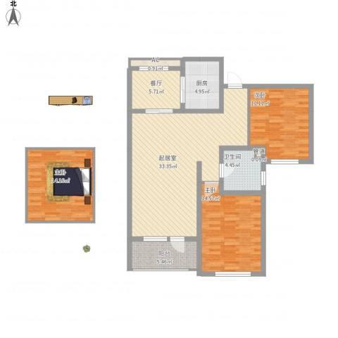 恒瑞大湖山语3室1厅1卫1厨136.00㎡户型图
