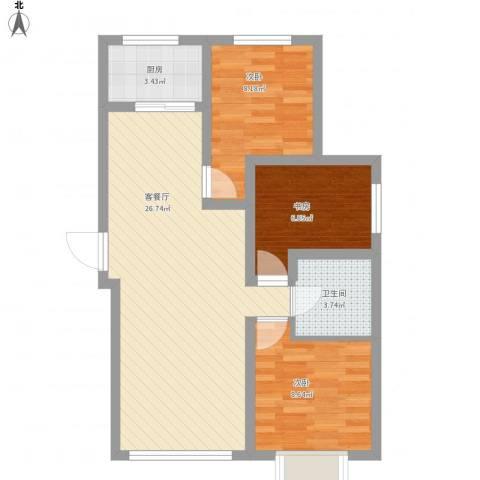 御龙湾1123室1厅1卫1厨84.00㎡户型图