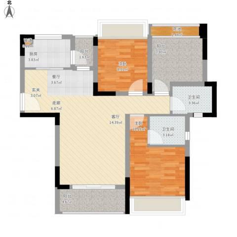 美丽湾畔花园2室1厅2卫1厨105.00㎡户型图