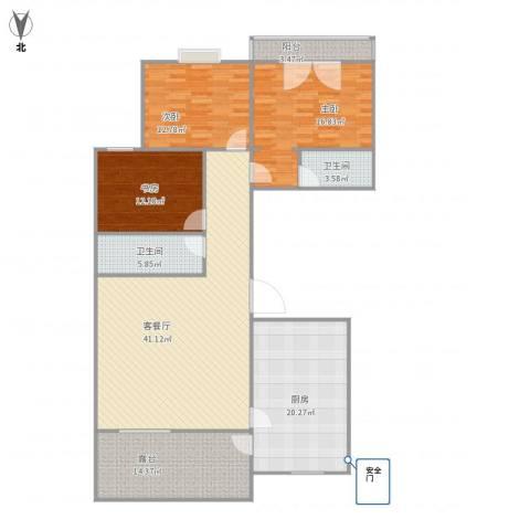 云龙十一景3室1厅2卫1厨174.00㎡户型图