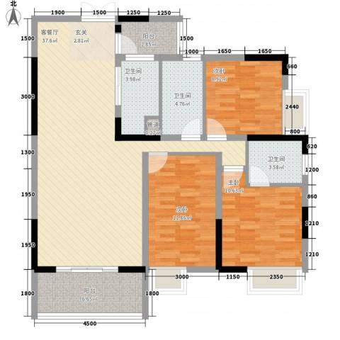 梓山湖领御3室1厅3卫0厨117.00㎡户型图
