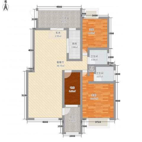 云都国际3室1厅2卫1厨125.00㎡户型图