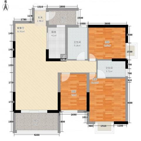 梓山湖领御3室1厅2卫1厨122.00㎡户型图