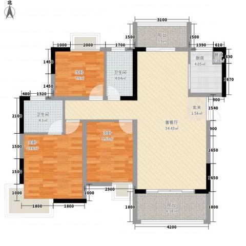 梓山湖领御3室1厅2卫1厨117.00㎡户型图