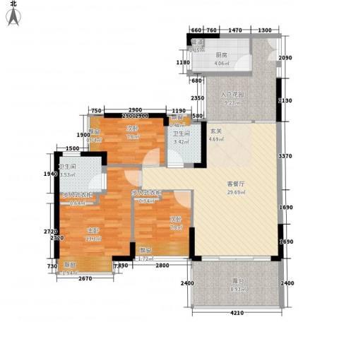 锦绣江南3室1厅2卫1厨123.00㎡户型图
