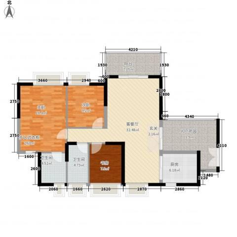 中天彩虹城3室1厅2卫1厨134.00㎡户型图